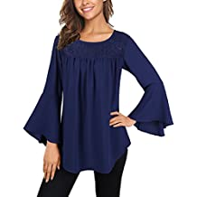 Faddare Women's Casual Bell Sleeve rounding Neck Solid Chiffon Blouse Tops