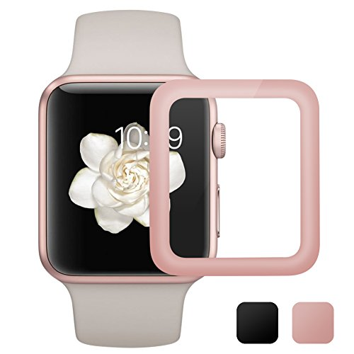 [Updated Version] AUNEOS Screen Protector for Apple Watch [Series 2] Glass Protector for 42MM Apple Watch [2 in 1] [Full Coverage] 3D Tempered Glass for Apple Watch Series 2 (42mm, Rose Gold) by AUNEOS