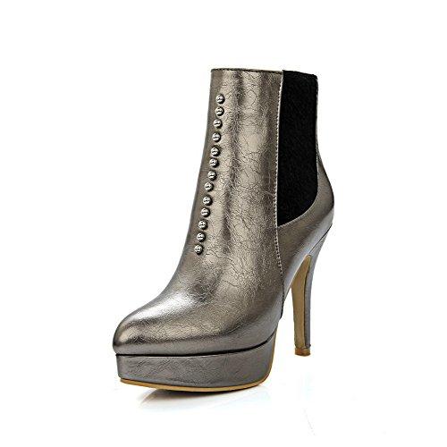 VogueZone009 Damen Stiletto Weiches Material Reißverschluss Niedrig-Spitze Stiefel, Schwarz, 36
