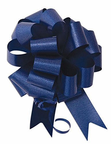 10 - 8'' Navy Blue Pull Bow Pew Bows Wedding Decorations Christmas Gift Wrap by SKD Party by Forum