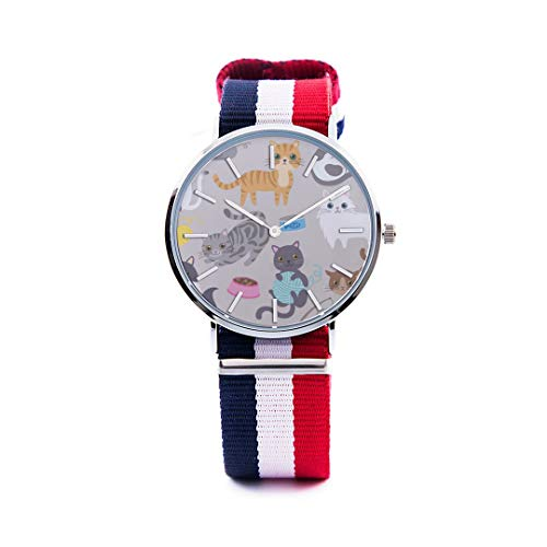 - Unisex Fashion Watch Beauty Lovely Cat Colorful Animals Print Dial Quartz Stainless Steel Wrist Watch with Nylon NATO Strap Watchband for Women Men 36mm Casual Watch