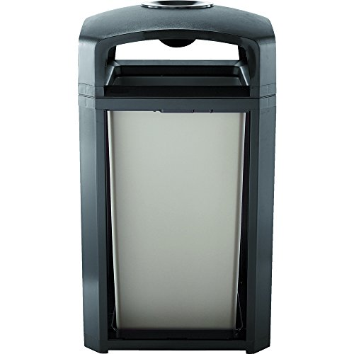 Landmark Trash Can - Rubbermaid Commercial Landmark Dome Top Trash Can Frame and Liner with Ash Tray, 50-Gallon, Black