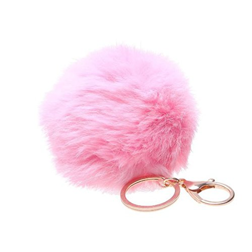 Shensee Rabbit Fur Ball Keychain Bag Plush Car Key Ring Car Key Pendant(Pink)