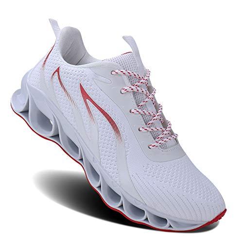 MOSHA BELLE Men Athletic Shoes White Mesh Blade Running Walking Sneakers, 10