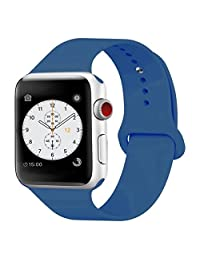 iDon Smart Watch Sport Band, Soft Silicone Replacement Sports Band for Apple Watch Band 42mm 2017 Series 3 Series 2 Series 1 (M/L, Ocean Blue)