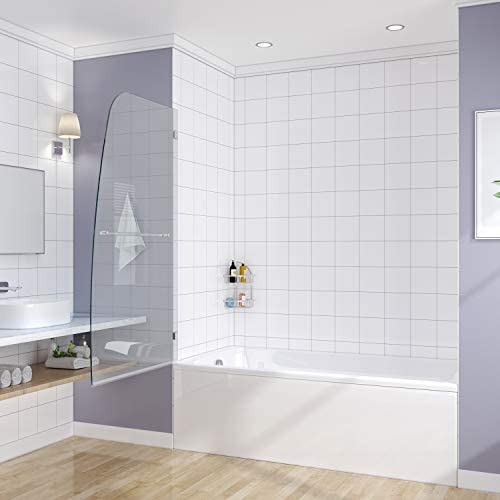 SUNNY SHOWER Bathtub Glass Shower Door, Frameless Hinged Pivot Tub Shower Door, 5 16 Glass Panel, Chrome Finish, 34 W x 58 H