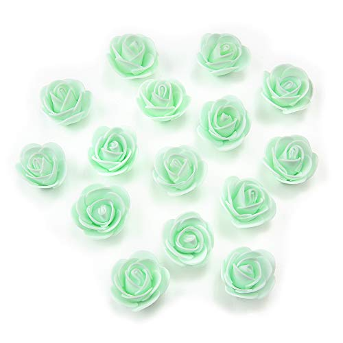 Artificial Flowers Fake Flower Heads Mini PE Foam Roses for Wedding Car Decoration DIY Party Festival Home Decor Pompom Wreath Decorative Valentine's Day Fake Flowers 50 PCS (Mint Green)