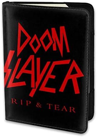 Doom Slayer パスポートケース メンズ 男女兼用 パスポートカバー パスポート用カバー パスポートバッグ 小型 携帯便利 シンプル ポーチ 5.5インチ高級PUレザー 家族 国内海外旅行用品
