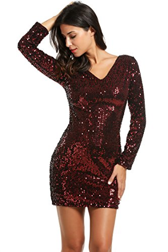 Meaneor Women's Sequin V-Neck Long Sleeve Bodycon Sheath Dress, Small, Red]()