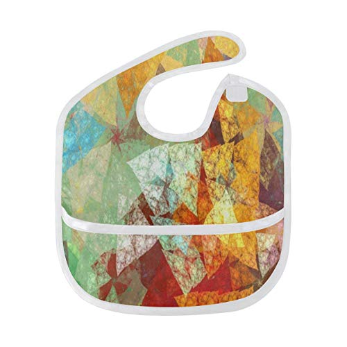 Baby Bibs Abstract Watercolor Maple Leaf Large Drool Bibs for Girls Starter Bib/Smock