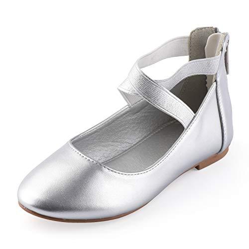 (Nova Utopia Toddler Little Girls Dress Ballet Elastic Ankle Strap Flat Shoes,NF Utopia Girl NFGF316 Silver)