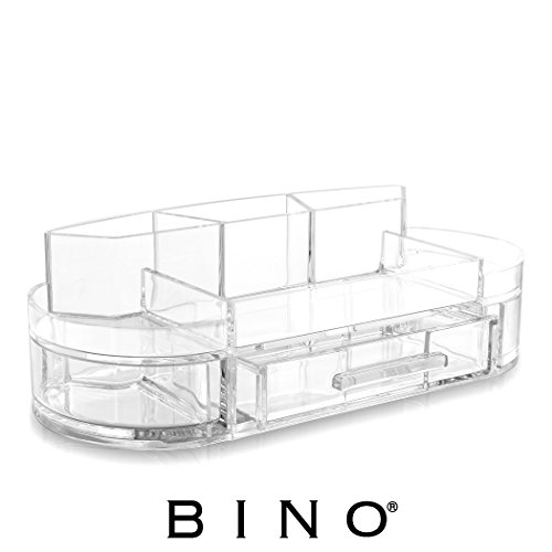 BINO 'The Charter' 8 Compartment Jewelry and Makeup Organizer with Removable Drawer, Clear and Transparent Cosmetic Beauty Vanity Holder Storage