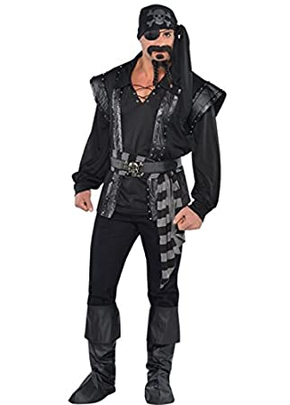 Magic Box Traje de Pirata de mar Oscuro Negro para Hombre XL ...