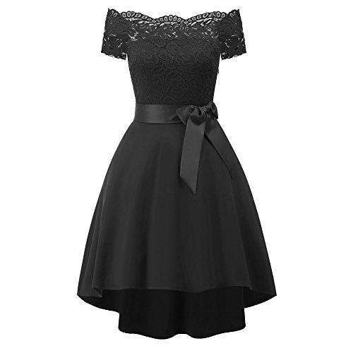 (Women Dress Vintage Off-Shoulder Floral Lace Knee-Length Party Aline Swing)