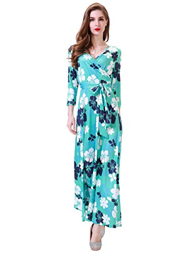 emian 3/4 Sleeve Vintage Faux Wrap Long Maxi Dress Small Mint ()