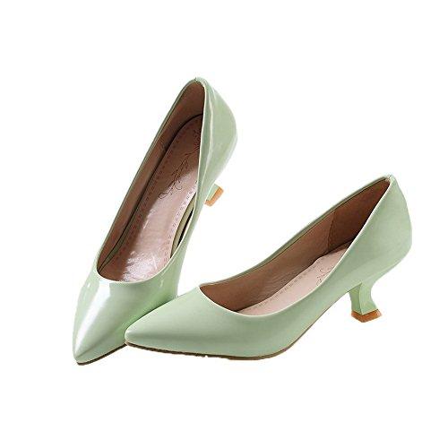 Allhqfashion Womens Kitten-hakken Pu Stevige Pull-on Gesloten-teen Pumps-schoenen Groen