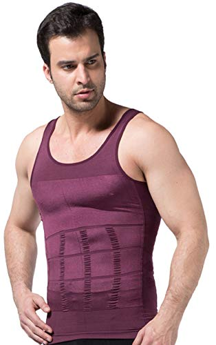- Mens Muscle Compression Tank Top, Purple Compression Shirt, X-Large