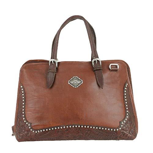 American West Pendleton Pony Leather Zip Around Smart Briefcase (Golden Tan (4315353))