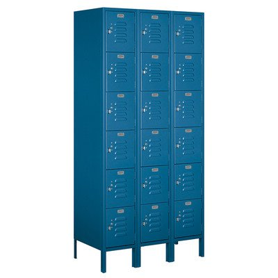 Salsbury Industries Assembled 6-Tier Box Style Standard Metal Locker with Three Wide Storage Units, 6-Feet High by 12-Inch Deep, Blue