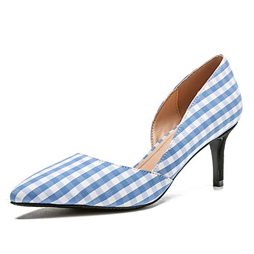 Casual Shoe Sexy High Heel - Meiren Pumps Pointed Plaid Casual Women High Heel Stiletto Sexy Shoes Blue 35