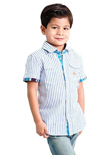 Dakomoda Boys' Linen Blend Dress Shirt - Short Sleeve Blue Striped Top 5T