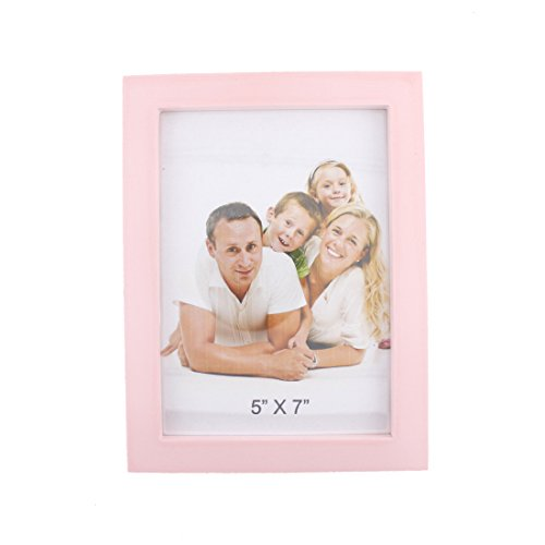 Classic Rectangular Wood Desktop Family Picture Photo Frame with Glass Front (Pink, - Pink Frame Picture 5x7