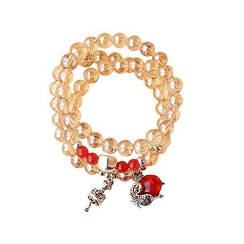 (Gillberry Birthstone Bead Bracelet, Tree of Life Silver Charm Pendant Elastic Bangle for Women Gemstone Beads Bracelet (Multicoloured A, Free Size))