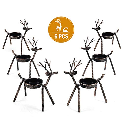 Rocinha Reindeer Candle Holder, Set of 6 Tea Candles Holders Holiday Candlestick Christmas Decoration for Home, Table, Fireplace, Window (Table Small Decorations)