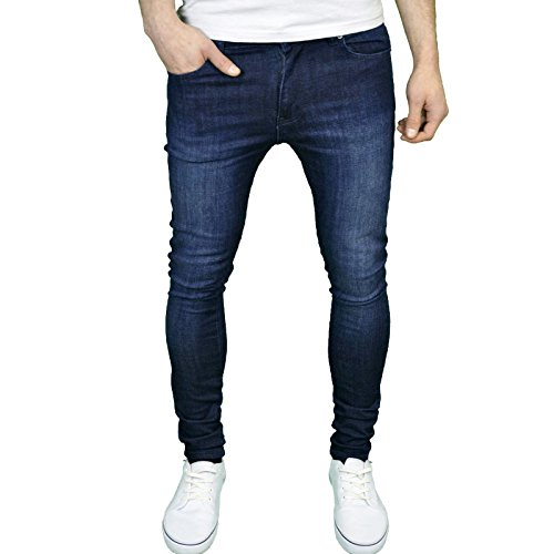 NEW MENS STONE-EDGE SKINNY SUPER STRETCH FIT RIPPED DENIM JEANS ALL WAIST BLUE