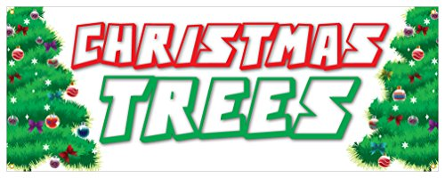Christmas Tree Banner Fresh Smells Holiday Lights Ornaments Retail Sign 18x48