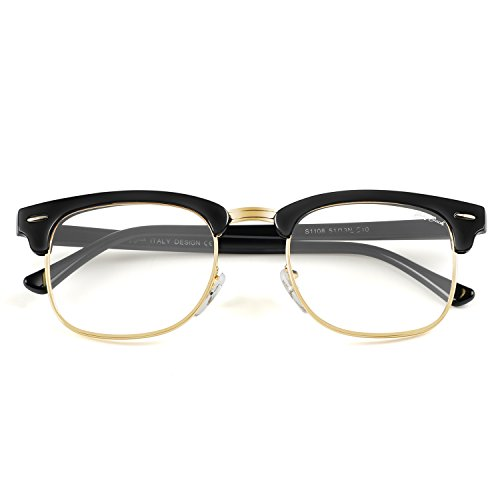 Glasses Black Frame Grey Lens - GREY JACK Classic Half Frame Plain Glasses Fashion Eyeglasses for Men Women Black Frame Clear Lens