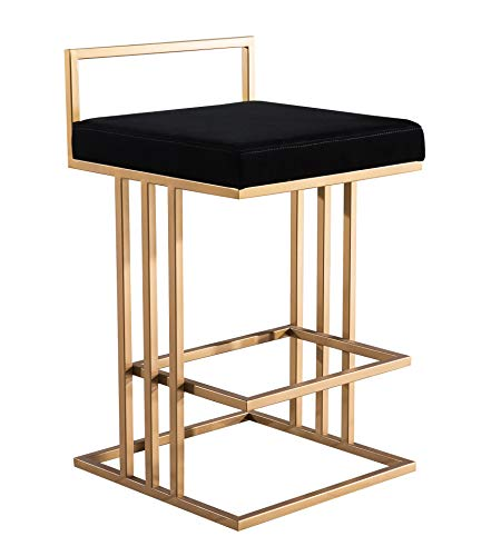 TOV Furniture TOV-D4115 The Trevi Collection Contemporary Velvet Upholstered Counter Stool, Black