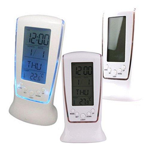 Modern Unique phone Calendar Thermometer Backlight LED Screen Digital Alarm Clock Desktop Clock PTSP