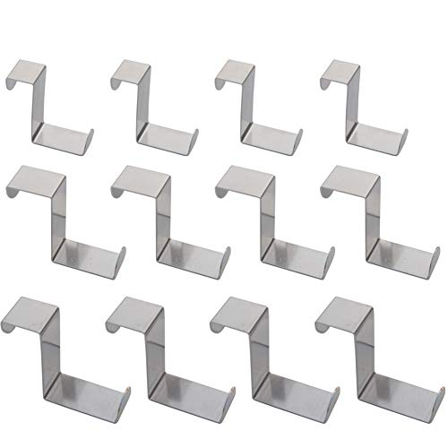 Set of 12 Over The Door Hooks,Z-Shaped Reversible Sturdy Hanging Hooks Dual Head Single Hanger for Over The Door or Cupboard Door,Drawer, Holders Hold up to 11Lbs,6 Different Size,Stainless Steel by BODINGTAI (Image #7)