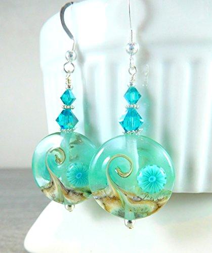 Teal Beach Ocean Glass Wave Lampwork Sterling Silver Crystal Earrings
