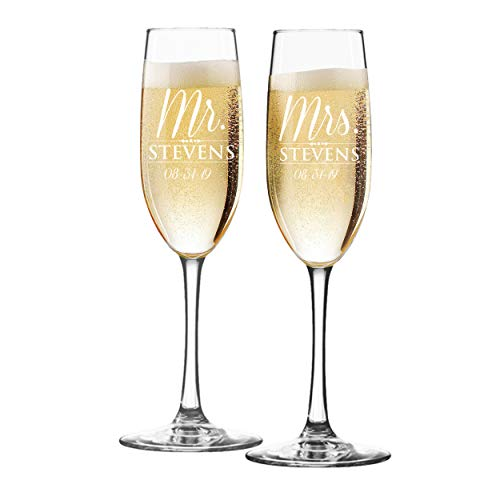 (Set of 2 Mr and Mrs Personalized Champagne Wedding Toasting Flute Glasses - Engraved, Etched, Monogrammed, Customized for Free )
