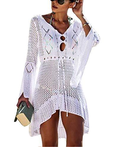 Barlver Women Swimsuit Cover ups Bathing Suit V Neck Crochet Dress Beach Wear Hollow Out Bikini Swimwear White