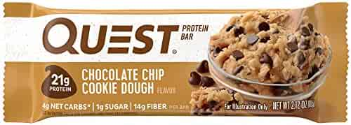 Quest Nutrition Chocolate Chip Cookie Dough Protein Bar, High Protein, Low Carb, Gluten Free, Soy Free, Keto Friendly,  2.12 oz Bar, 12 Count(Packaging May Vary)