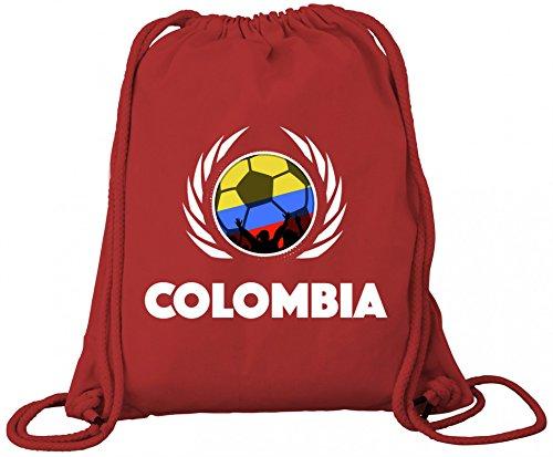 Colombia Fanfest Fussball WM Bio Baumwoll Turnbeutel Rucksack Gym Bag Fußball Kolumbien Red