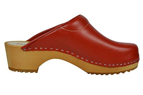 Buxa Zuecos de Cuero para Mujer con suela de Madera y el relleno. Patrón de Flores Rojo