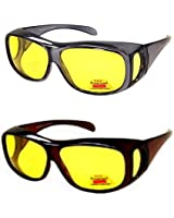 2 Pair Polarized Night Driving Fit Over Size...