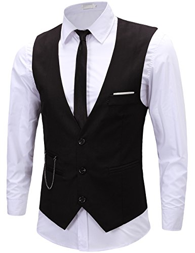 Black Full Back Tuxedo Vest - KIMIST Men's Formal Dress Business Slim Fit Sleeveless Jacket Vest Waistcoat (Medium, Black)