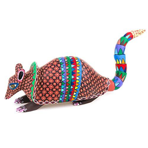 Colorful Armadillo Oaxacan Alebrije Wood Carving Fine Mexican Folk Art Sculpture