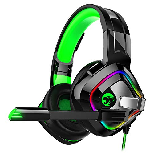 ZIUMIER Gaming Headset Xbox One Headset, PS4 Headset with Noise Canceling Mic and RGB Light, PC Headset with Bass Surround Sound, Over Ear Headphones for PC, PS4, Xbox One, Laptop (Green) (Games Like World Of Warcraft For Mac)
