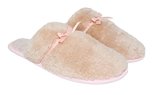 Memory Peach Star Slippers Blue Resistant Sherpa Slip Women's Rubber w Outdoor Bottom Foam Anti Pink Skid House Sole Indoor Comfort FtFwUx0