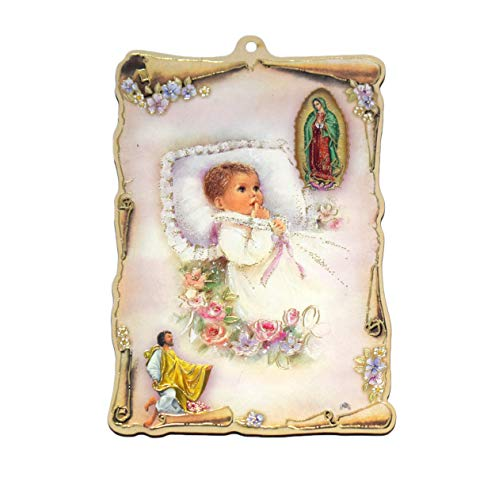 (Italian Our Lady of Guadalupe Virgin Wood Wall Plaque Baptism Religious Gift Room Decor)