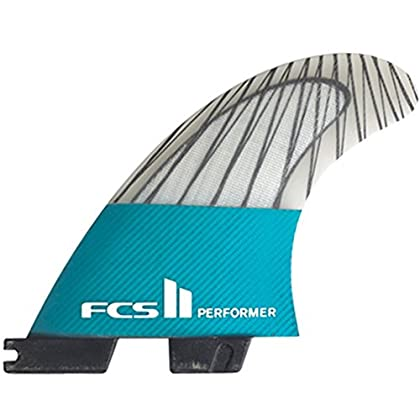 Image of FCS II Performer Performance Core Carbon Tri Fin Set - Teal