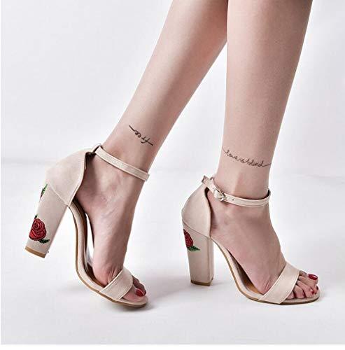 Chaussures Talon Beige Bout épais Haut Sandales Talon Femmes Ouvert Dentelle Femme Boucle Daim ZFAFA WAxqw0Zgvx