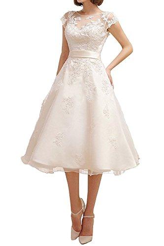 Brautmode Applikation Elegant Spitze Band Wadenlang Brautkleider Kurz Aiyana Damen Weiß Hochzeitskleider mit qOwZBXOn