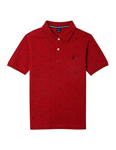 (Nautica Big Boys' Short Sleeve Printed Polo Shirt, Ericson Red Rouge, Large (14/16))